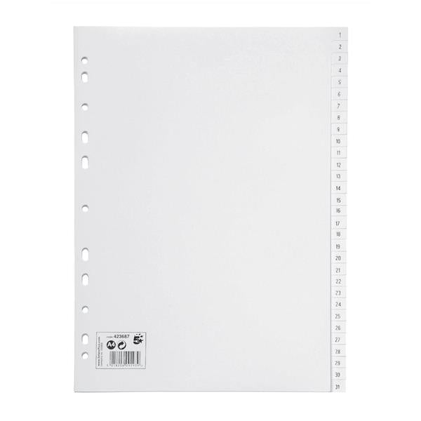 5 Star Office Index Multipunched 130 micron Polypropylene 1-31 A4 White