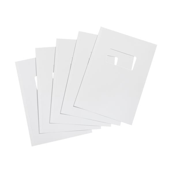 5 Star Office Binding Covers 250gsm Window A4 Gloss White [Pack 100]
