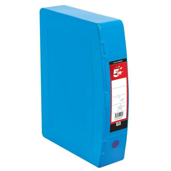 5 Star Office Box File Polypropylene with Twin Clip Lock Foolscap Blue