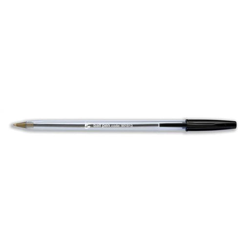 5 Star Office Ball Pen Clear Barrel 1.0mm Tip 0.4mm Line Black [Pack 50]