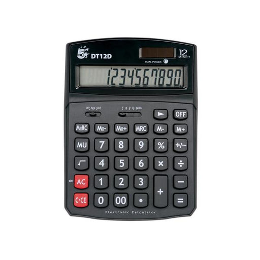 5 Star Office Calculator Desktop Solar/Battery Power 12 Digit 2 Set Memory
