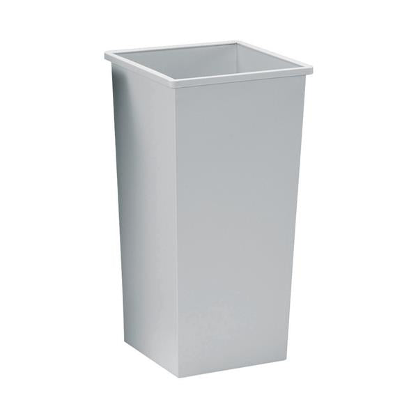 5 Star Facilities Waste Bin Square Metal Scratch-resistant W325xD325xH642mm 48 Litres Grey