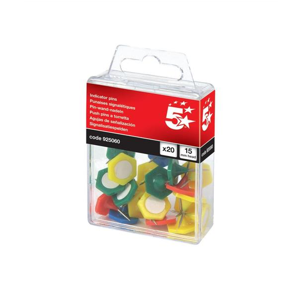 5 Star Office Indicator Pins 15mm Head Assorted [Pack 20]