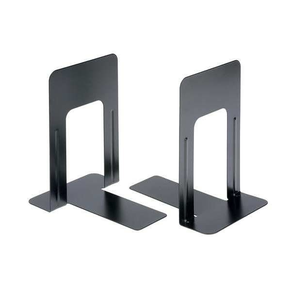 5 Star Office Bookends Metal Heavy Duty 180mm Black [Pack 2]