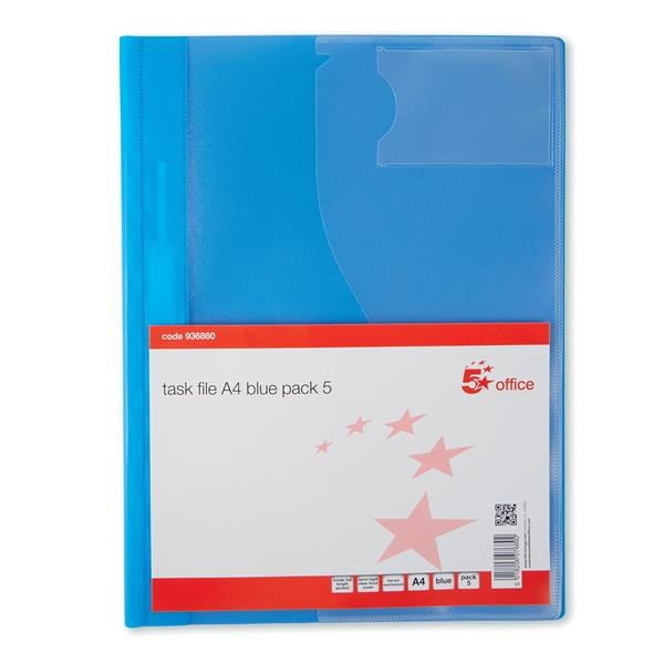 5 Star Office Document Folder Task File Semi-rigid Clear Pocket Front Cover A4 Blue [Pack 5]