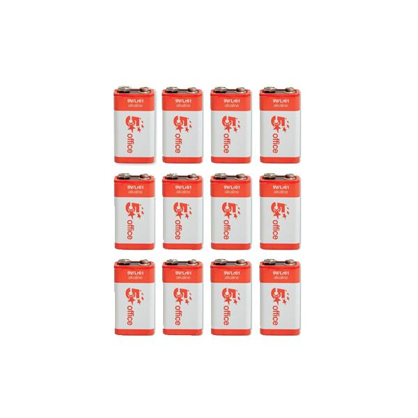 5 Star Office Batteries 9V / 6LR61 [Pack 12]