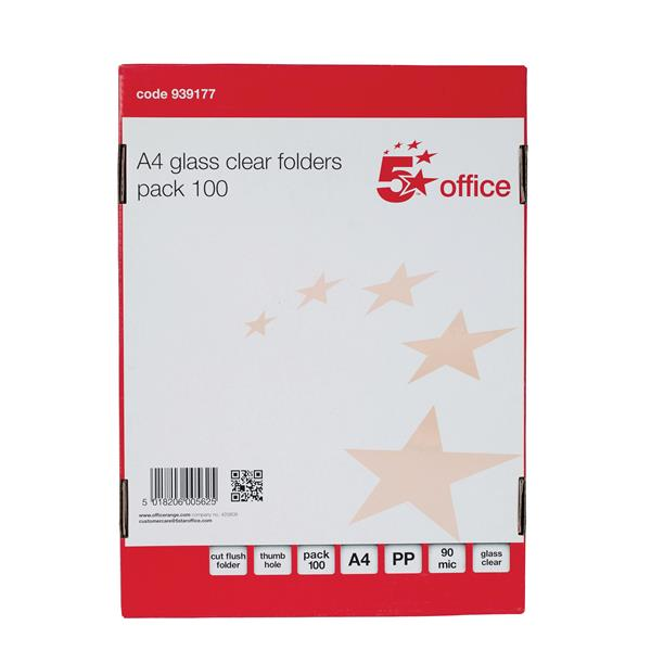 5 Star Office Folder Cut Flush Polypropylene 90 Micron A4 Clear [Pack 100]