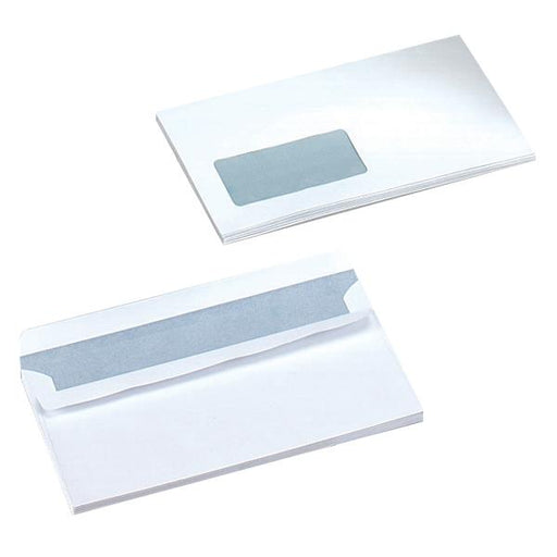 5 Star Office Envelopes Wallet Self Seal Window 80gsm White DL [Pack 1000]