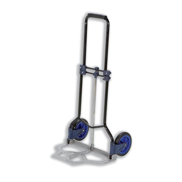 5 Star Facilities Hand Trolley Folding Capacity 70kg Foot Size W480xL470mm Black and Blue