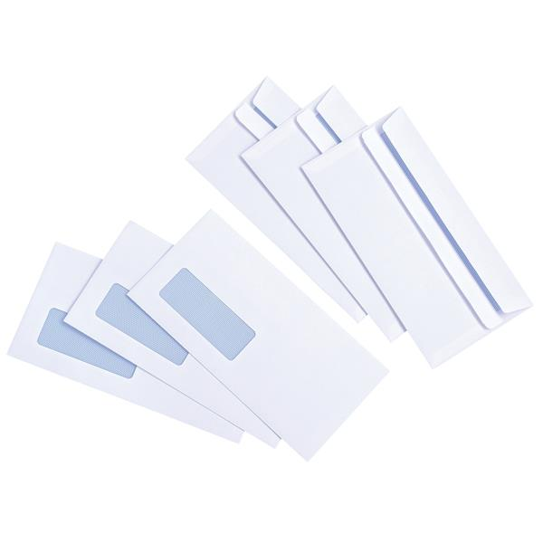 5 Star Value Envelope White Press Seal Window Wallet DL 90gsm [Pack 1000]