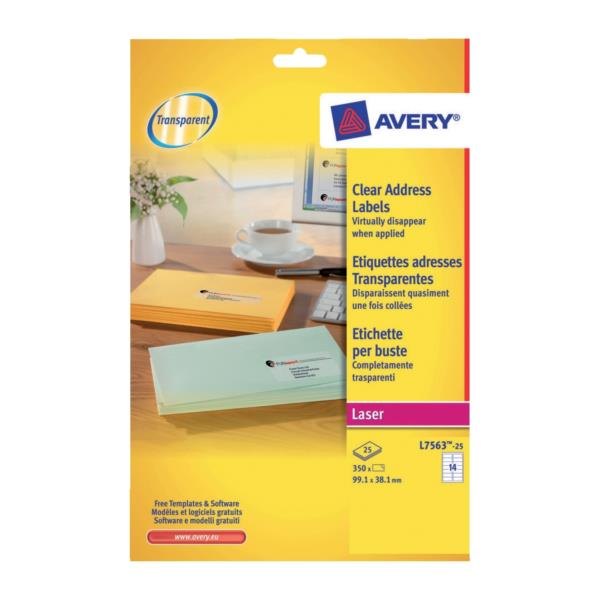 Avery Clear Addressing Labels Laser 14 per Sheet 99.1x38.1mm Ref L7563-25 [350 Labels]