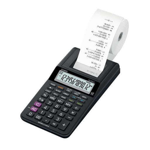 Casio HR-8RCE Printing Calculator 12 digit Display Black Ref HR-8RCE-BK