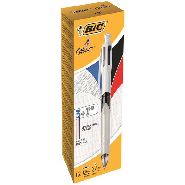 Bic 4 Colour Multifunction Ballpoint Pen with Pencil Black Blue Red Ink [Pack 12]