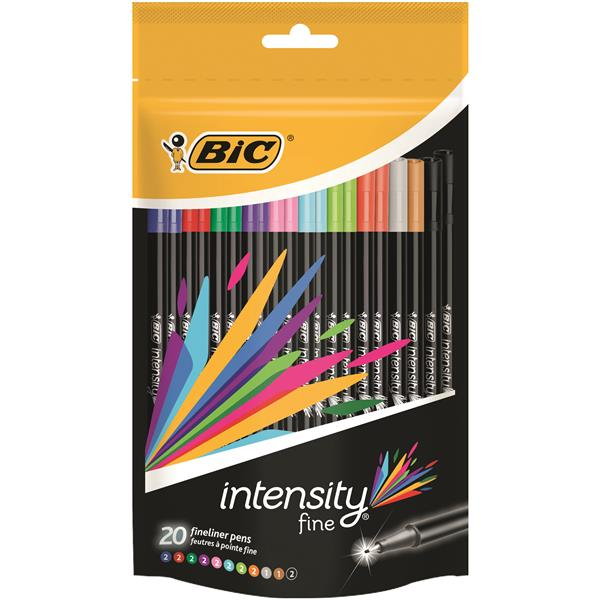 Bic Intensity Fine Writing Felt Pen 20 Assorted Bright Colours Ref 942097 [Pack 20]
