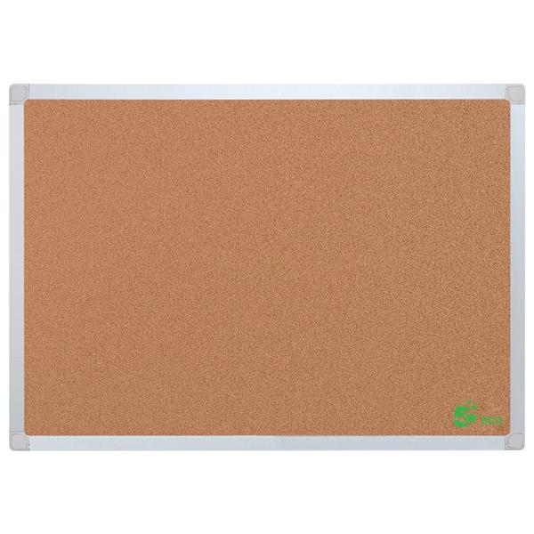 5 Star Eco Cork Board with Wall Fixing Kit Aluminium Frame W1200xH900mm