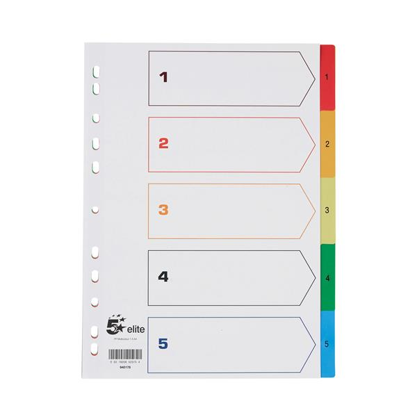 5 Star Elite File Index Multicoloured Tabs Polypropylene 1-5 A4 White