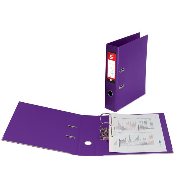 5 Star Office Lever Arch File Plastic A4 Purple [Pack 10]