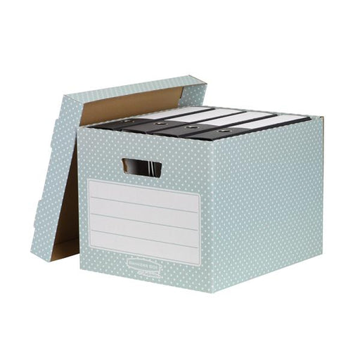 Bankers Box by Fellowes Storage Box Stackable Recycled FSC A4 Green/White [Pack 4]