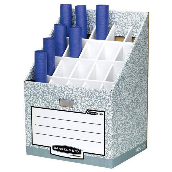 Bankers Box by Fellowes System Roll Stor Stand for Rolled Documents Grey-White