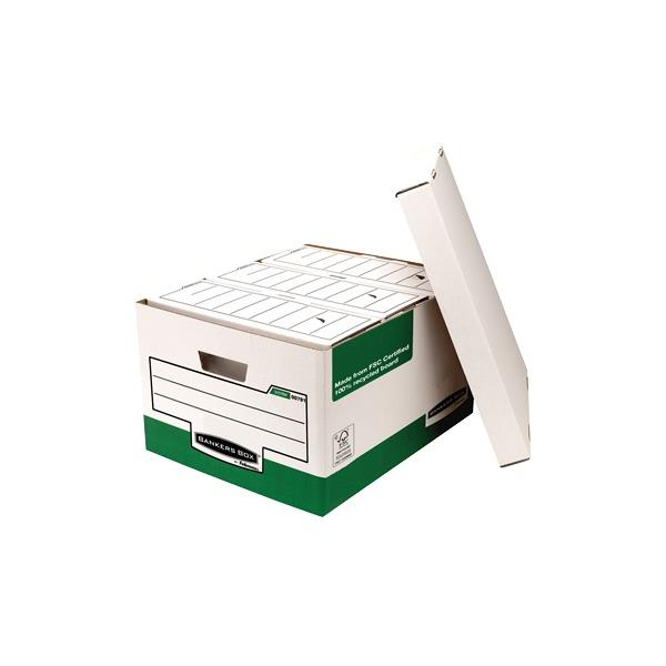 Bankers Box by Fellowes Storage Box Foolscap White Green [Pack 10]