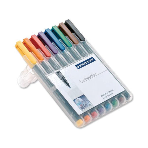 Staedtler 318 Lumocolor Pen Permanent Fine 0.6mm Assorted Ref 318WP8 [Wallet 8]