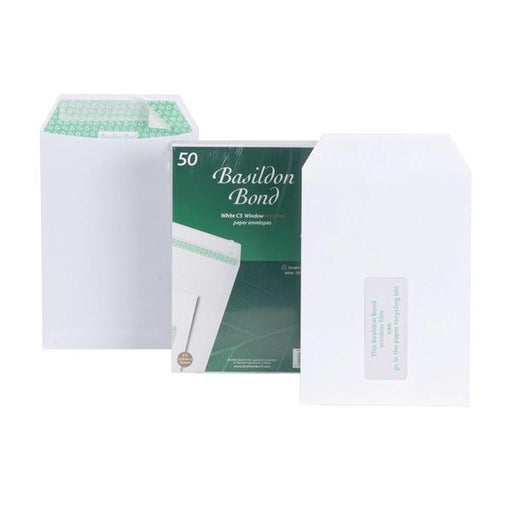 Basildon Bond Envelopes Recycled Pocket Window Peel and Seal 120gsm C5 White Ref M80278 [Pack 50]