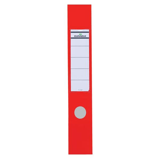 Durable Ordofix Spine Labels Self-adhesive PVC for Lever Arch File Red Ref 8090/03 [Pack 10]