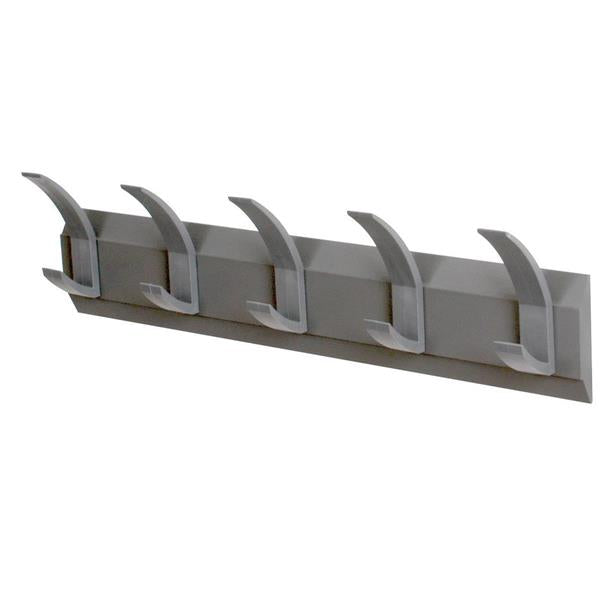 Acorn Hat and Coat Wall Rack with Concealed Fixings - 5 Hooks - Graphite