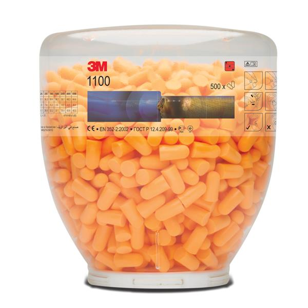 3M Ear Plugs Hypoallergenic Foam Tapered Design Refill Bottle Ref 1100B [500 Pairs]