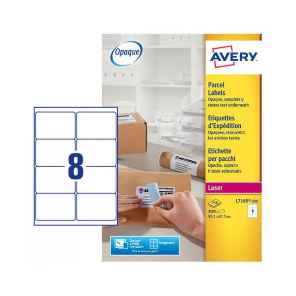 Avery Addressing Labels Laser Jam-free 8 per Sheet 99.1x67.7mm White Ref L7165-250 [2000 Labels]