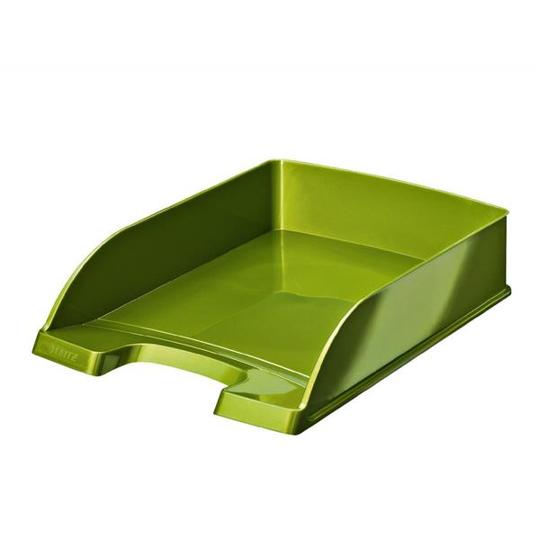 Leitz Bright Letter Tray Stackable Glossy Metallic Green