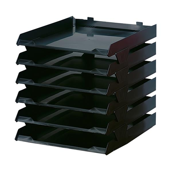 Avery Paperstack Letter Tray Self-stacking A4 W250xD320xH300mm Black [Pack 6]