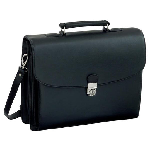 Alassio Forte Briefcase with Shoulder Strap 5 Document Sections Leather-look Black Ref 92011