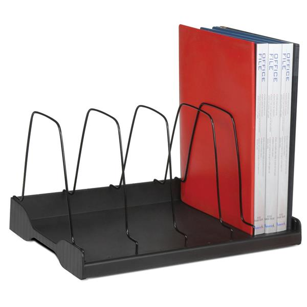 Adjustable Book Rack 6 Wire Dividers W388 x D275 x H220mm Black