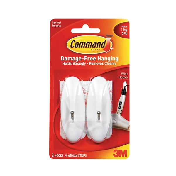 Command Adhesive Wire Hook Medium Ref 17068 [Pack 2]