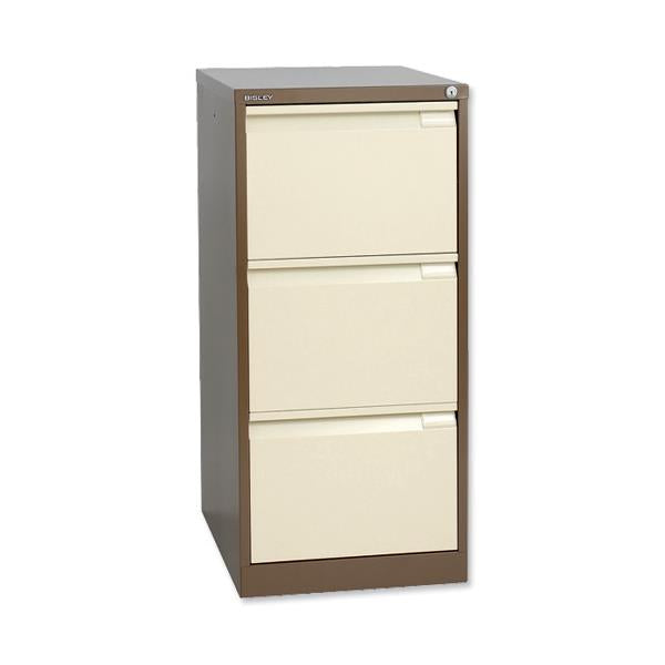 Bisley BS3E Filing Cabinet - 3 Drawer - H1016mm - Brown and Cream