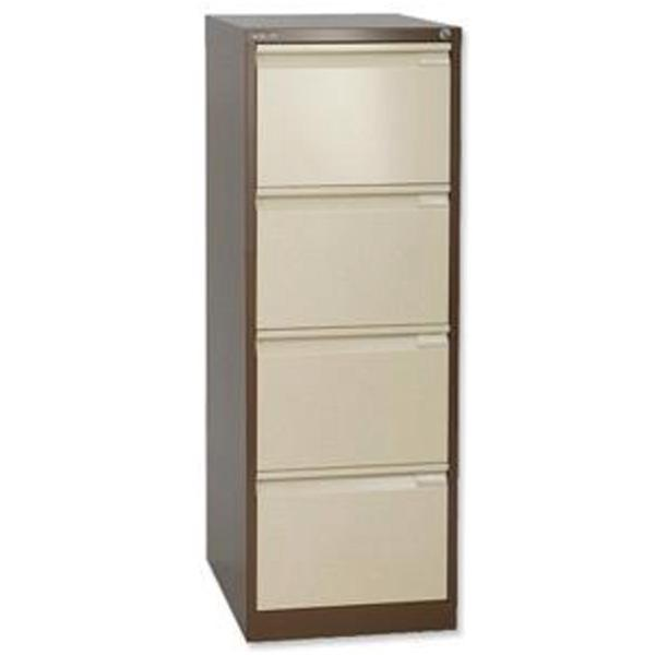 Bisley BS4E Filing Cabinet - 4 Drawer - H1321mm - Brown and Cream