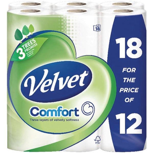Triple Velvet Toilet Rolls Ref 4014141 [Pack 12 Plus 6 FREE]