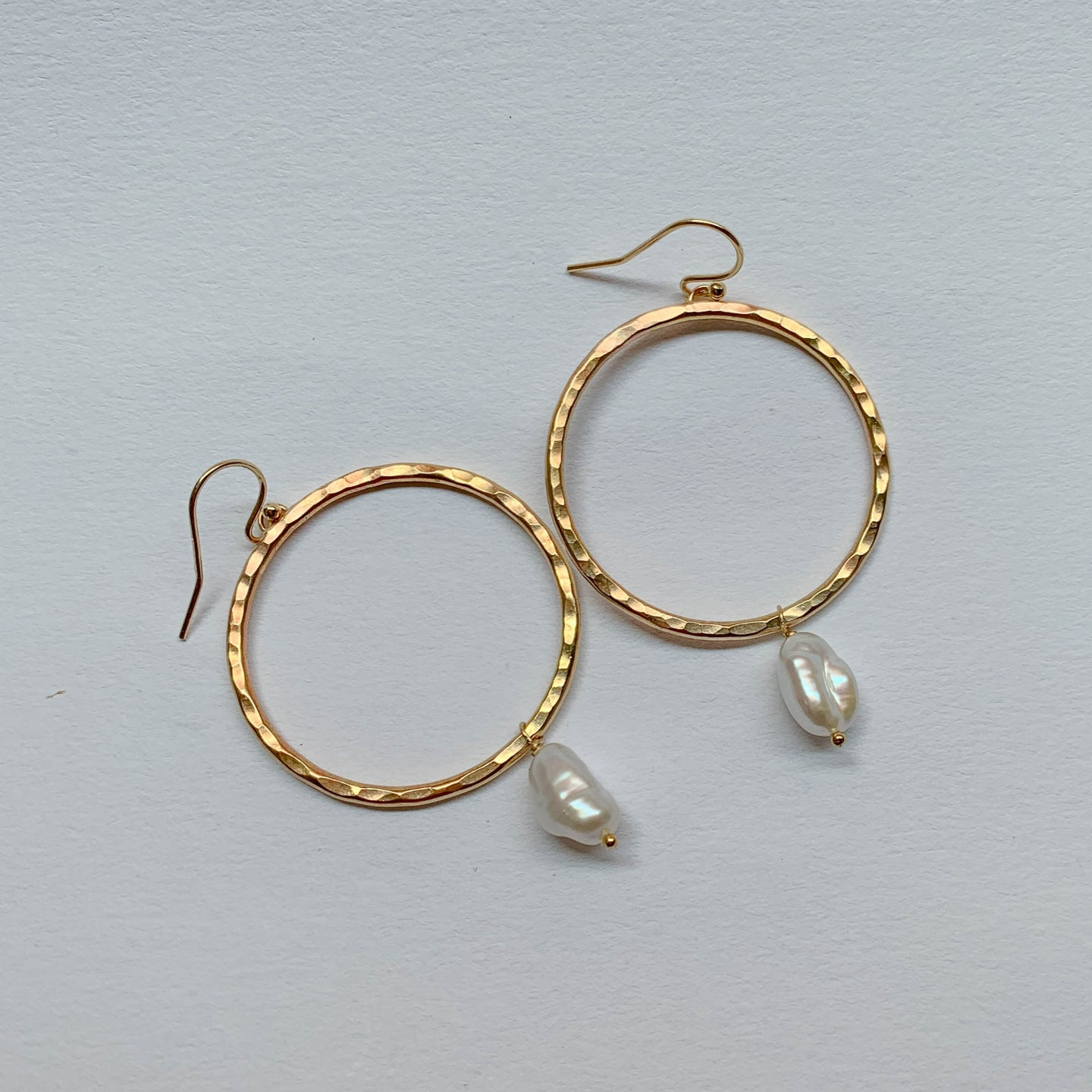 Pearl Hoops: 14k Gold
