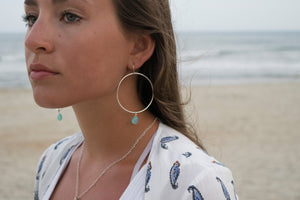 Sterling Silver Hoop Earrings with Chalcedony