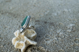 Teal Sea Glass Ring