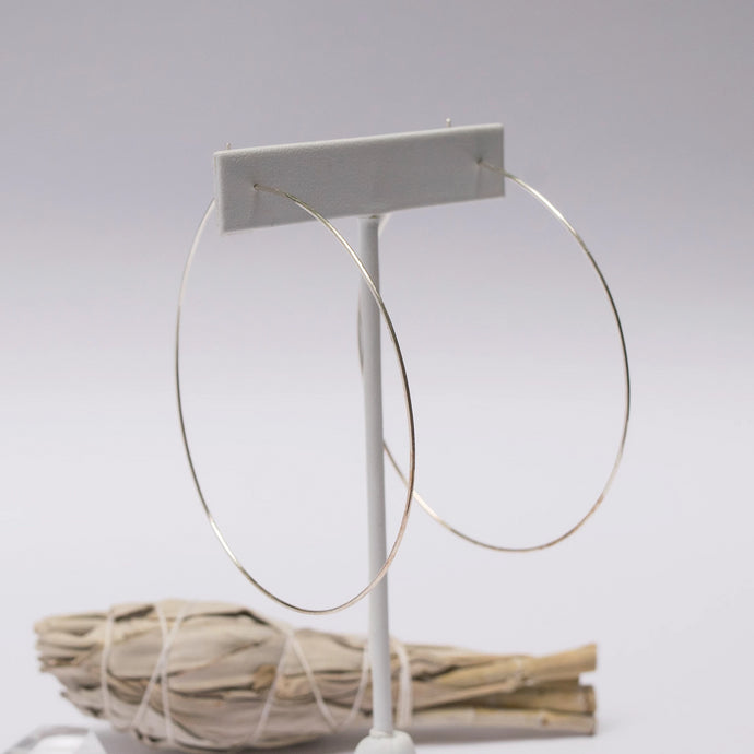 Large Featherlight Hoops - Silver