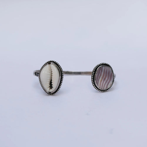 Cowrie and Wampum Cuff Bracelet