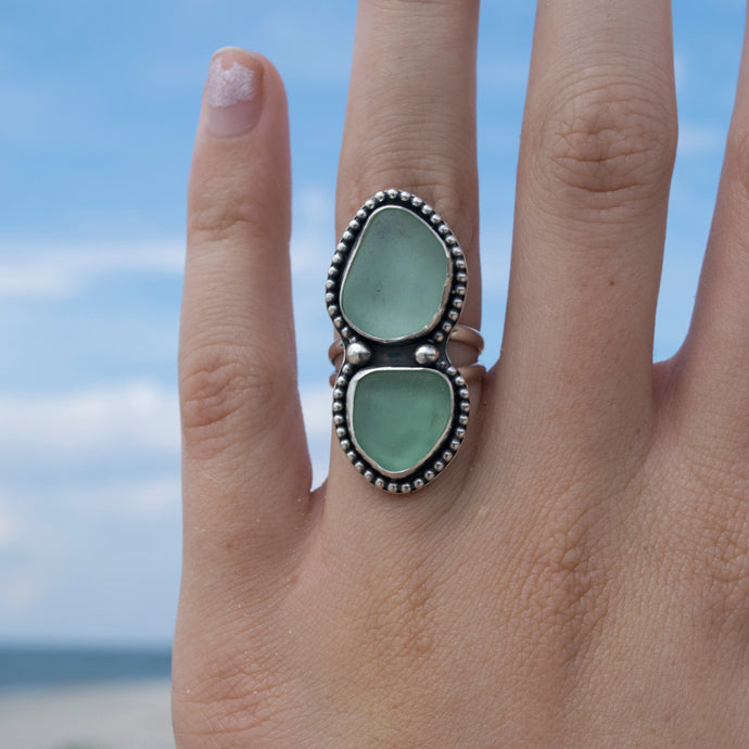 Seafoam Double Sea Glass Ring