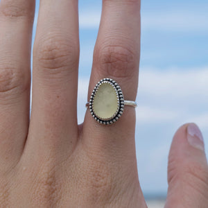 Yellow Sea Glass Ring