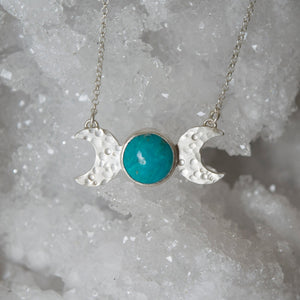 Sterling Silver and Turquoise Triple Goddess Necklace