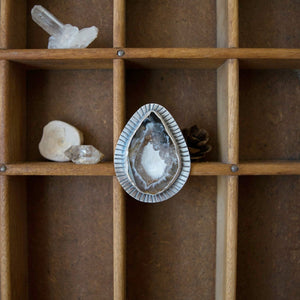 Agate Crystal Slice Ring