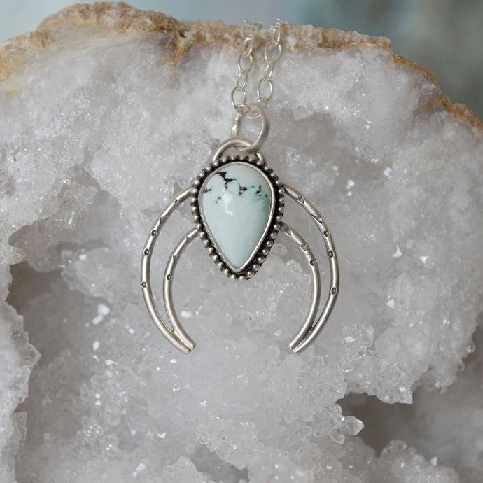 Sterling Silver and Big Nugget Turquoise Naja Necklace