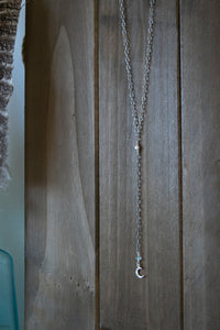 Silver Moon Lariat Necklace