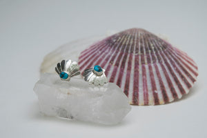 Silver Scallop Shell Earrings-Turquoise